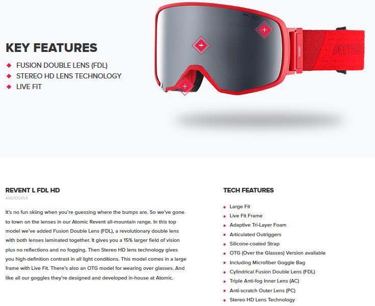 Snow gear - Ski   Snow Goggles - ATOMIC REVENT L FDL HD 32635918bff